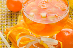 Delicious fruit jelly orange glass Royalty Free Stock Photos