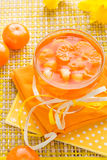 Delicious fruit jelly orange glass Stock Photo