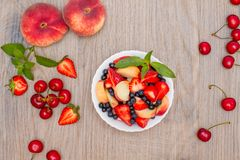Delicious fruit salad. Top view. Royalty Free Stock Photos