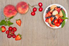 Delicious fruit salad. Top view. Stock Photography