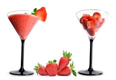 Delicious fruit smoothies from fresh strawberry in a glass. Royalty Free Stock Photography
