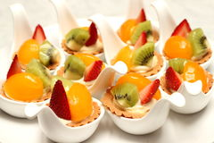Delicious fruit tart witth peach and strawberries Royalty Free Stock Photo