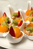 Delicious fruit tart witth peach and strawberries Stock Photo