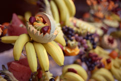 Delicious fruits with bananas and melons. Capture of Delicious fruits with bananas and melons Stock Photos