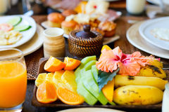 Delicious fruits for breakfast Royalty Free Stock Images