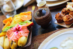 Delicious fruits for breakfast Royalty Free Stock Photos