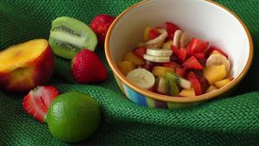 Delicious fruits salad stock footage