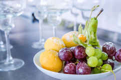Delicious fruits salad in plate Royalty Free Stock Images