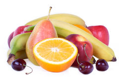 Delicious fruits on white Royalty Free Stock Photo