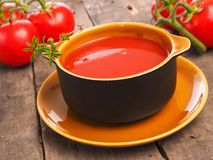 Delicious gazpacho in a rustic bowl Royalty Free Stock Image