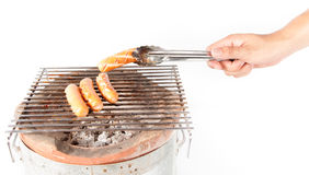 Delicious german sausages on the barbecue grill Stock Photography