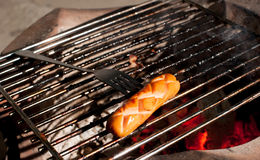 Delicious german sausages on the barbecue grill Royalty Free Stock Photos