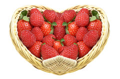 A delicious gift for Valentine`s day. Strawberries and raspberries in a basket heart shape Stock Images