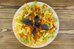 Delicious gigli t withchanterelles and basil on  plate Stock Images