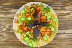 Delicious gigli t withchanterelles and basil on  plate Stock Photography