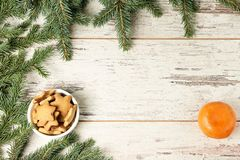 Delicious ginger biscuits. NewYear. Fir branch. One tasty tangerine. Light background stock photo