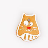 Delicious gingerbread cat Stock Photography