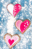 Delicious gingerbread hearts for Valentine`s Day Royalty Free Stock Image