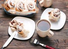 Delicious glazed cinnamon buns Royalty Free Stock Image