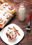 Delicious glazed cinnamon buns Royalty Free Stock Image
