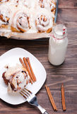 Delicious glazed cinnamon buns Stock Photos