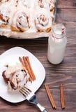 Delicious glazed cinnamon buns Stock Photos