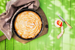 Delicious golden home baked apple pie Royalty Free Stock Photo