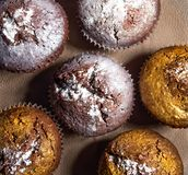 Delicious golden silver muffins, handmade, baking with powdered sugar on a paper napkin stock image