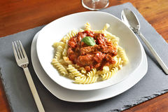 Delicious goulash dish on a white plate Royalty Free Stock Images