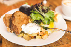 Delicious, gourmet breakfast in upscale American cafe Royalty Free Stock Images