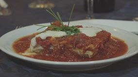Gourmet Dish Lasagna with red Sauce. Delicious gourmet lasagna dish with green leaves on top stock footage