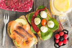 Delicious gourmet open sandwiches on wholewheat Stock Photo