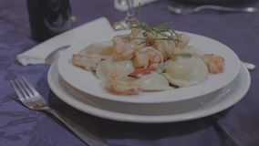 Gourmet pasta dish. Delicious gourmet pasta dish with prawns and white cream stock video footage