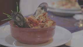Casuela gourmet dish. Delicious gourmet seafood casserole stock video