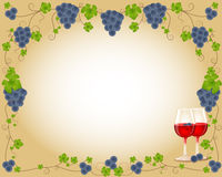 Delicious grape frame with glass Stock Photo