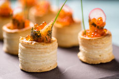 Delicious graved salmon appetizers Royalty Free Stock Images