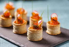 Delicious graved salmon appetizers Stock Photography