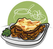 Delicious Greek moussaka with aubergines Royalty Free Stock Photos
