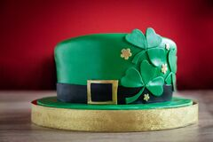 Delicious green cake in the shape of a St. Patrick`s hat