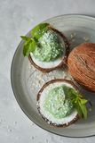 Green mint sorbet ice cream in the coconut shell with green leaves on a plate on a stone background. Delicious green dessert, ice cream in a coconut shell on a stock images