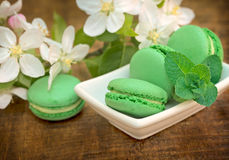 Delicious green macaroons - macaron on table Stock Photo