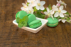 Delicious green macaroons - macaron Royalty Free Stock Photography