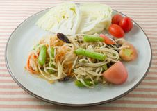 Delicious Green Papaya Salad or Som Tum Stock Photos