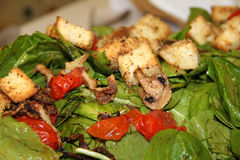 Delicious Green Salad. Spinach salad with cherry tomatoes, mushrooms, croutons and a vinnaigrette dressing Stock Photography