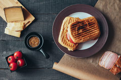 A delicious griled panini sandwich. Top view. A delicious griled panini sandwich. Top view Royalty Free Stock Photo