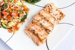 Delicious grill Salmon with side dishes Stock Photo
