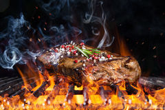 Delicious grilled beef steak on a barbecue grill. Royalty Free Stock Image