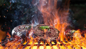 Delicious grilled beef steak on a barbecue grill. Royalty Free Stock Photos