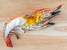 Delicious grilled big freshwater prawn, cut in half and served Royalty Free Stock Photos
