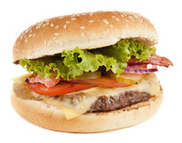 Delicious grilled burger. Isolated on white background royalty free stock images